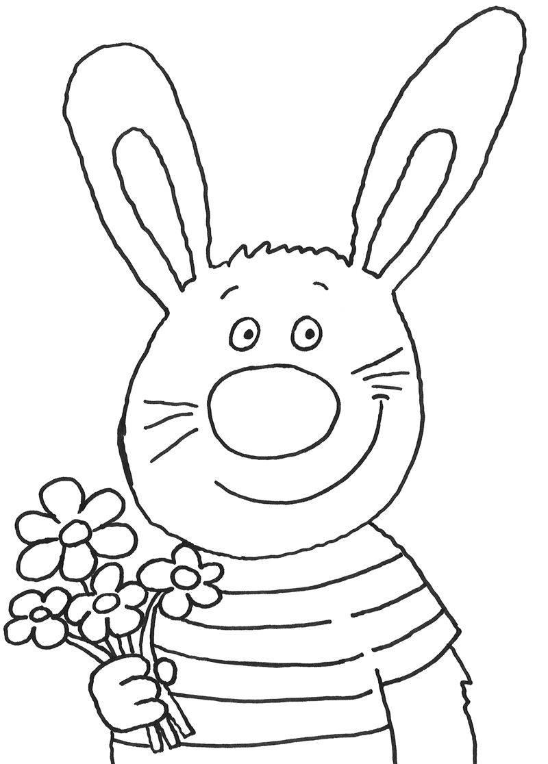 Ausmalbild Ostern Osterhase Mit Blumenstrauß Kostenlos