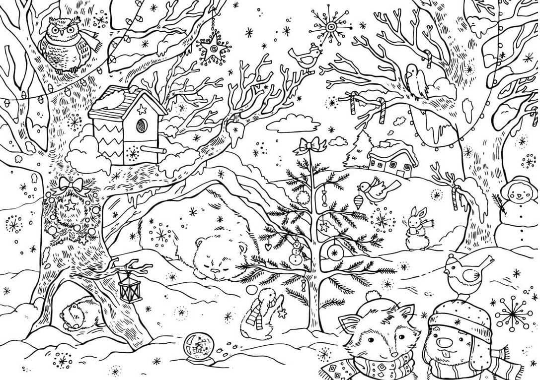 Winterlandschaft Malvorlage - kinderbilderdownload