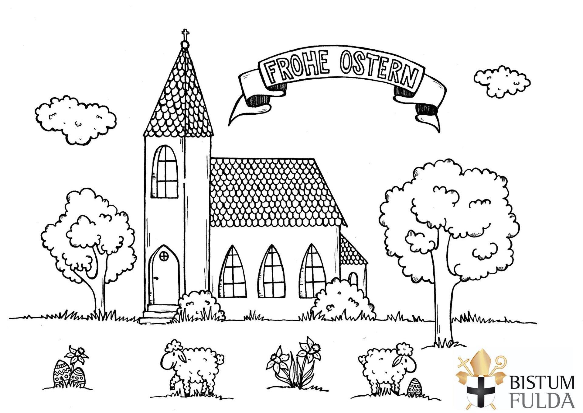 Ausmalbild Kirche - kinderbilderdownload kinderbilder