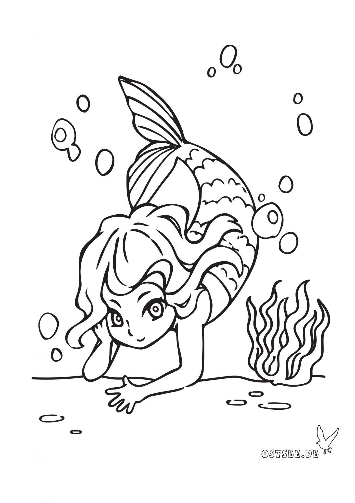 Kleine Meerjungfrau Als Ausmalbild Für Kleine Ostsee-Fans