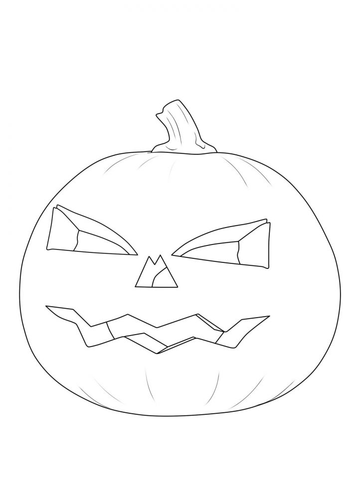 Kostenlose Malvorlage Halloween Kürbis-Laterne Ausmalen