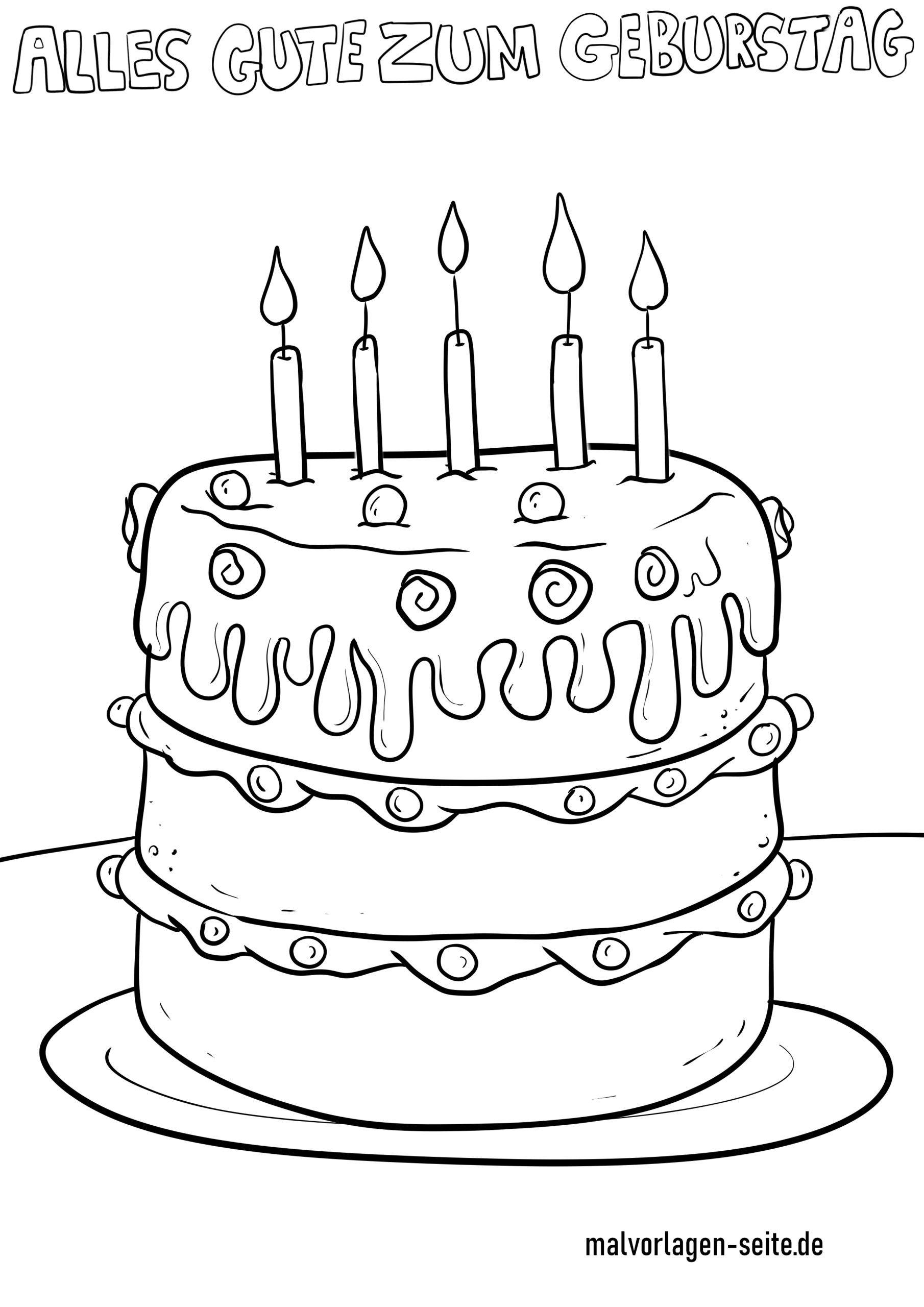Ausmalbild Happy Birthday - kinderbilderdownload