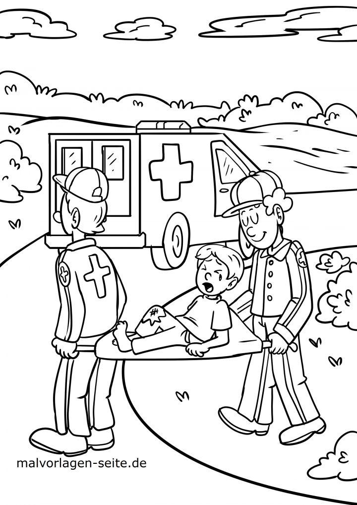 Malvorlage Arzt Sanitäter - Ausmalbilder Kostenlos