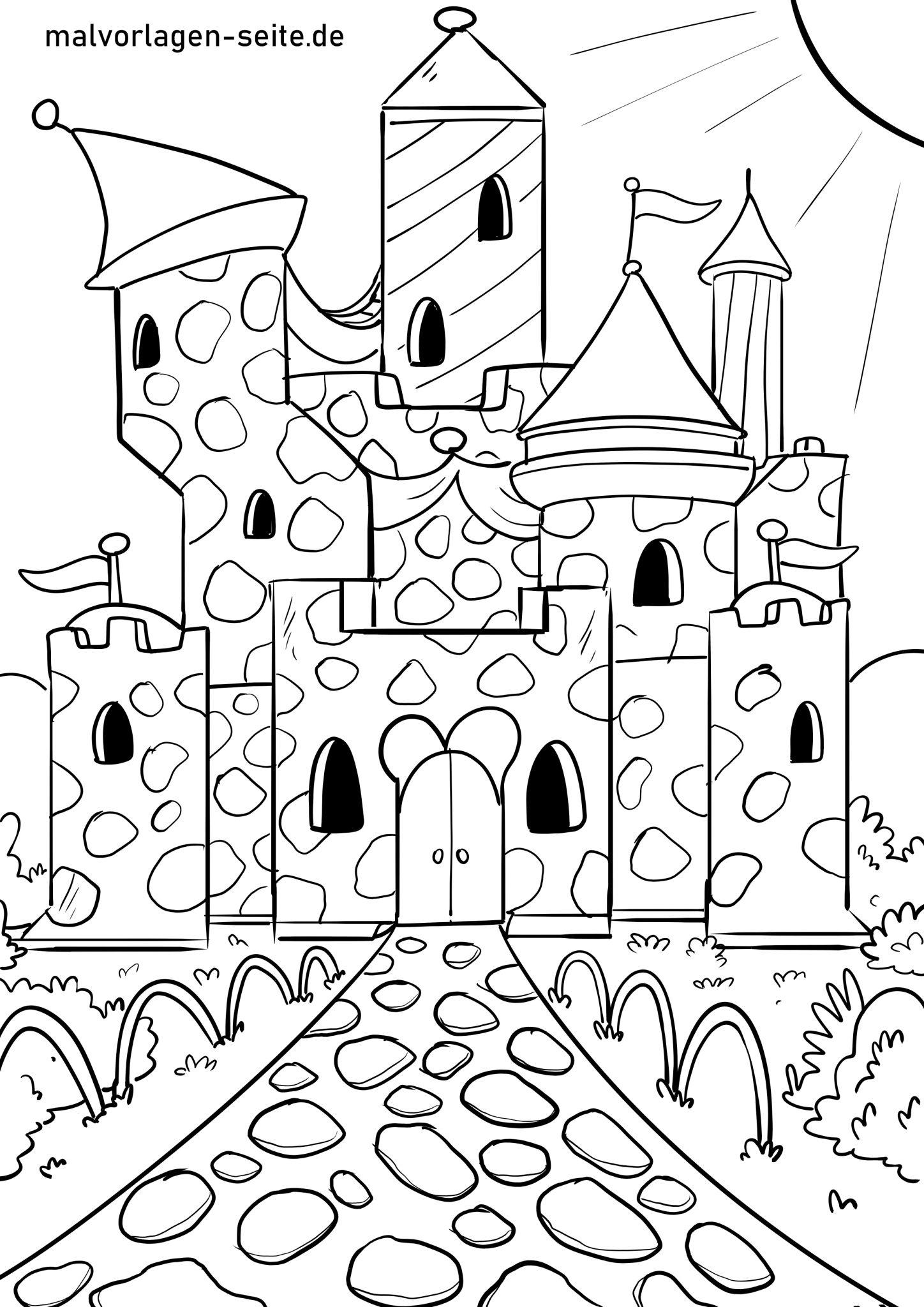 Malvorlage Burg - Ausmalbilder Kostenlos Herunterladen mit