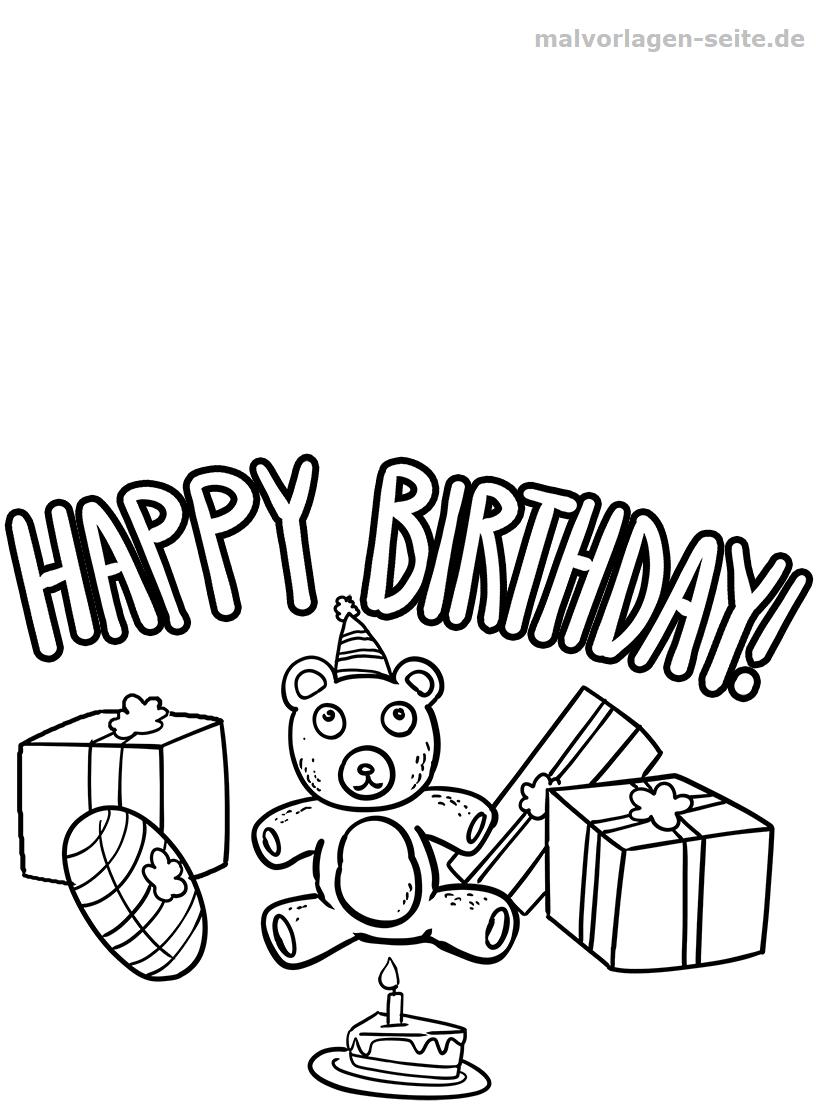 Malvorlage Happy Birthday Geburtstag - Ausmalbilder