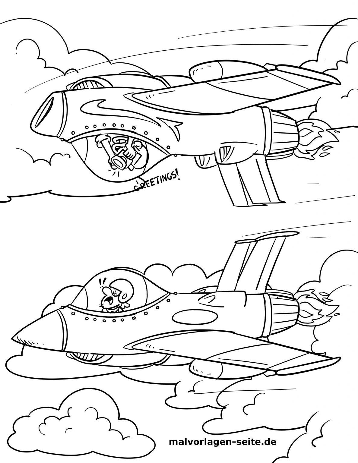 Malvorlage Kampfjet Flugzeug - Ausmalbilder Kostenlos