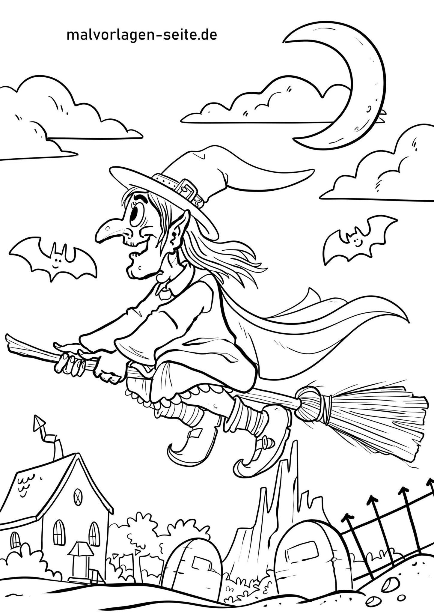 Malvorlage Walpurgisnacht Hexe - Ausmalbilder Kostenlos in