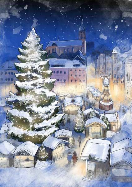 Ausflugsziel Erzgebirge mit Kindern Annaberger Weihnachtsmarkt aus dem Kinderbuch Abenteuer im Erzgebirge