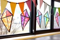 Stained Glass Kite Decorations Made from Tissue Paper