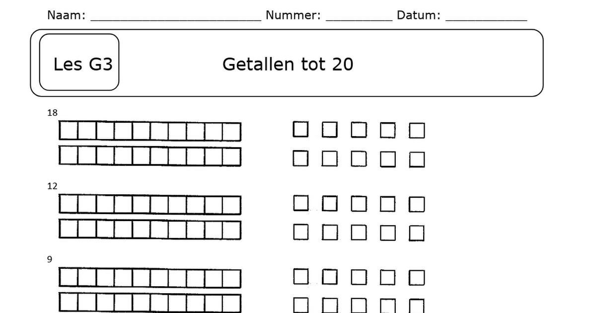 Wiskunde-werkbladen Tot 20 5