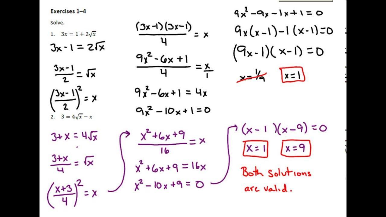 Algebra Ii-werkbladen 4