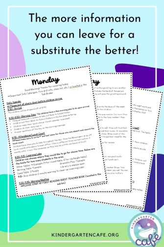 lesson plans for substitute teacher - the more information you leave the better