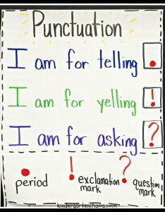 Kindergarten punctuation anchor chart kindergartenchaos also must make charts rh