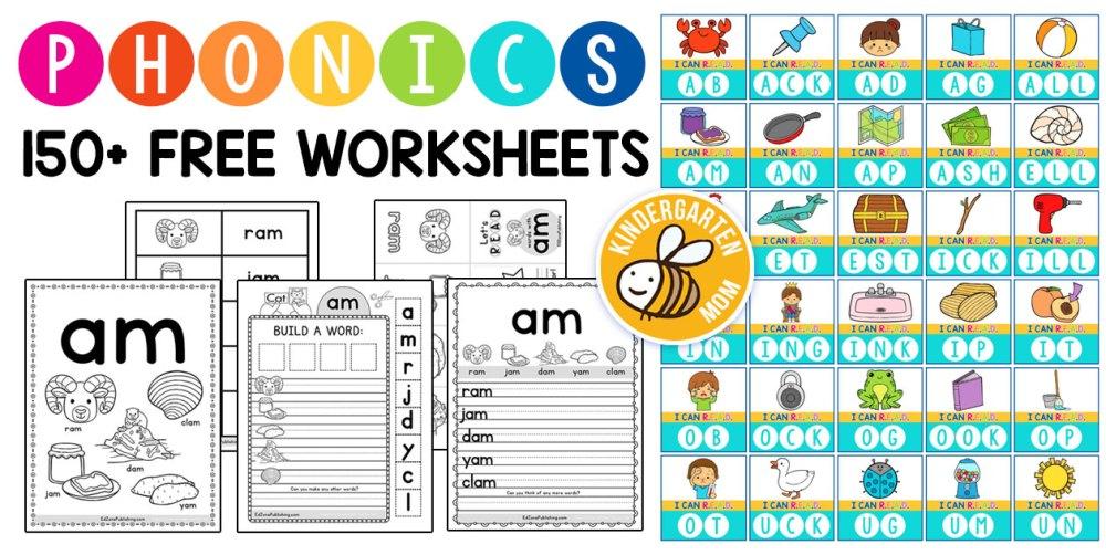 medium resolution of Phonics Worksheets - Kindergarten Mom