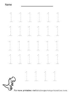 tracing number 1 worksheet