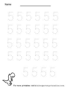 tracing numbers 1 to 5 worksheet for preschool