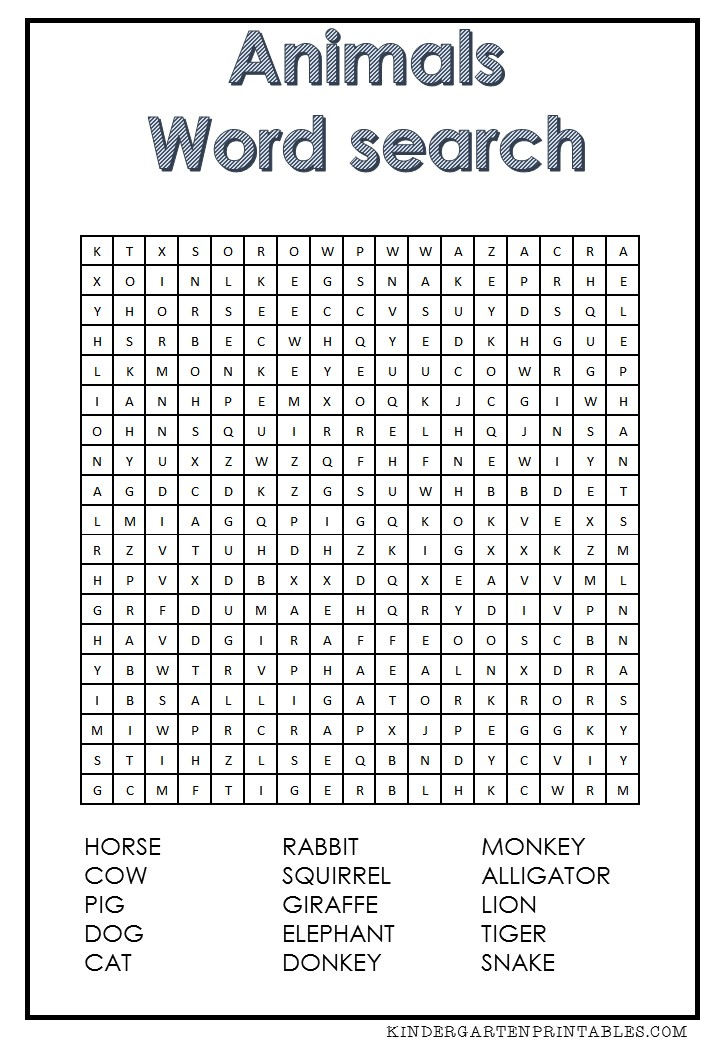 graphic relating to Animals Word Search Printable titled Animal term appear totally free printable