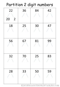 partition 2 digit numbers worksheet