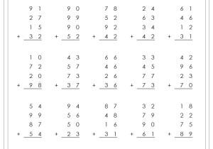Column Addition 2 Digit 4 addends