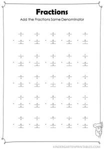 Vertical Add Fractions Same Denominator worksheet