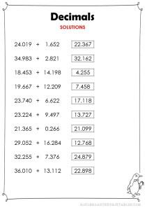 subtract decimals thousandths worksheets