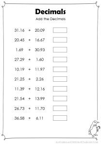 addition decimals hundredths worksheet
