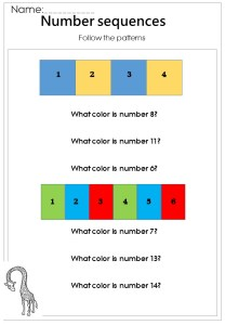 color basic number sequences printable worksheet