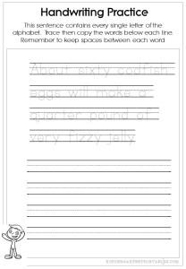 Pangram handwriting worksheets