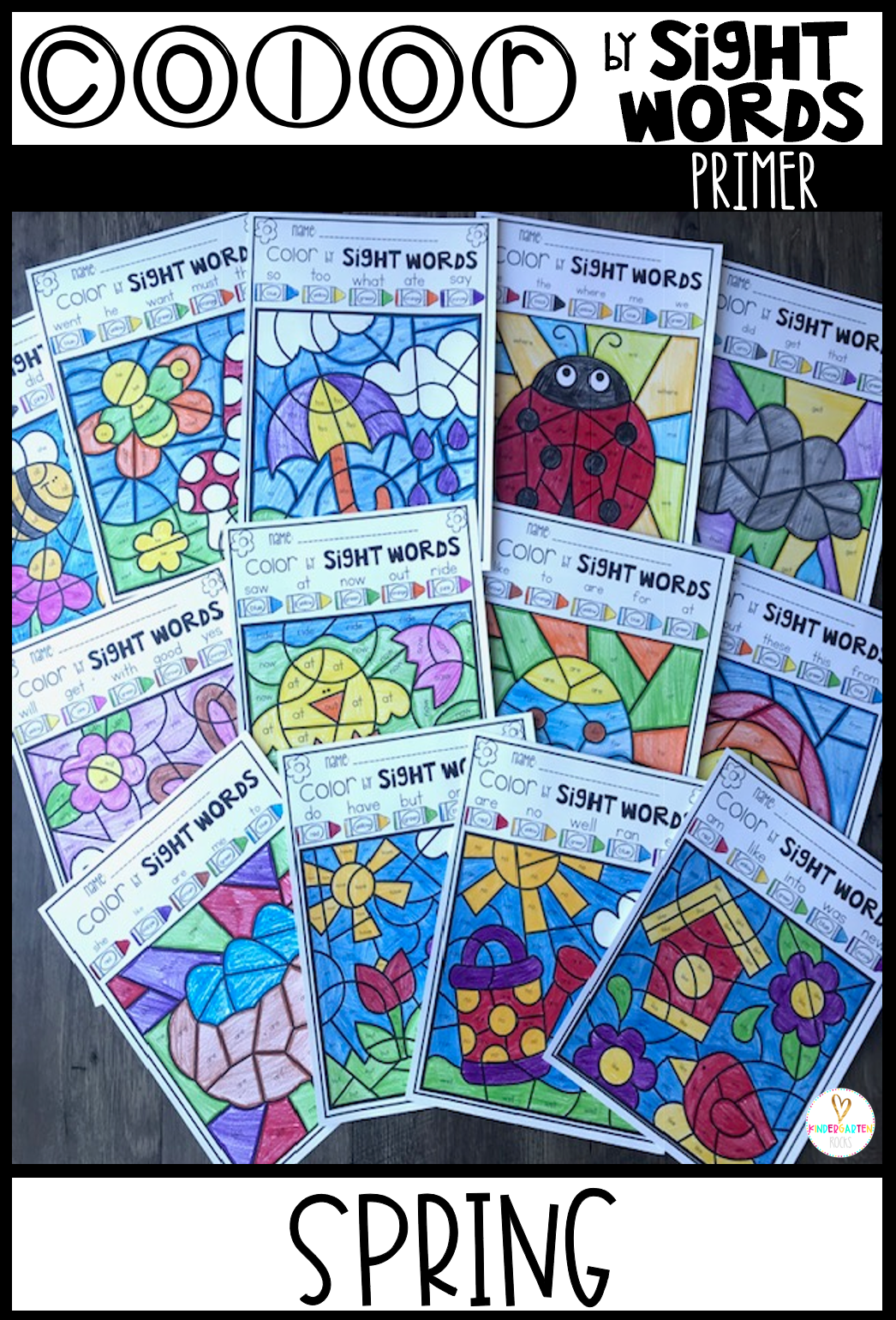Spring Sight Word Activities Color By Sight Words Primer Editable