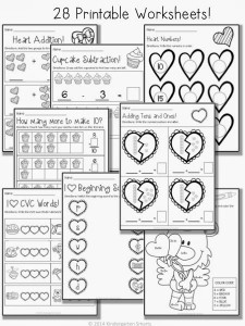 Valentine's Day Math and Literacy Centers with Printable