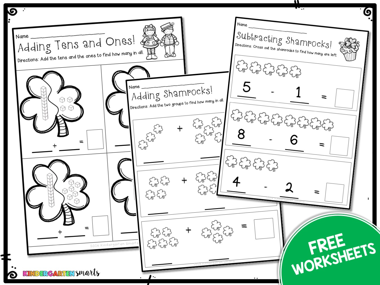 Kindergarten Math Worksheets St Patricks Day With A Freebie