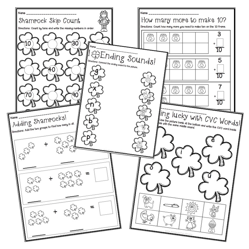 St. Patrick's Day Math and Literacy Centers with Printable