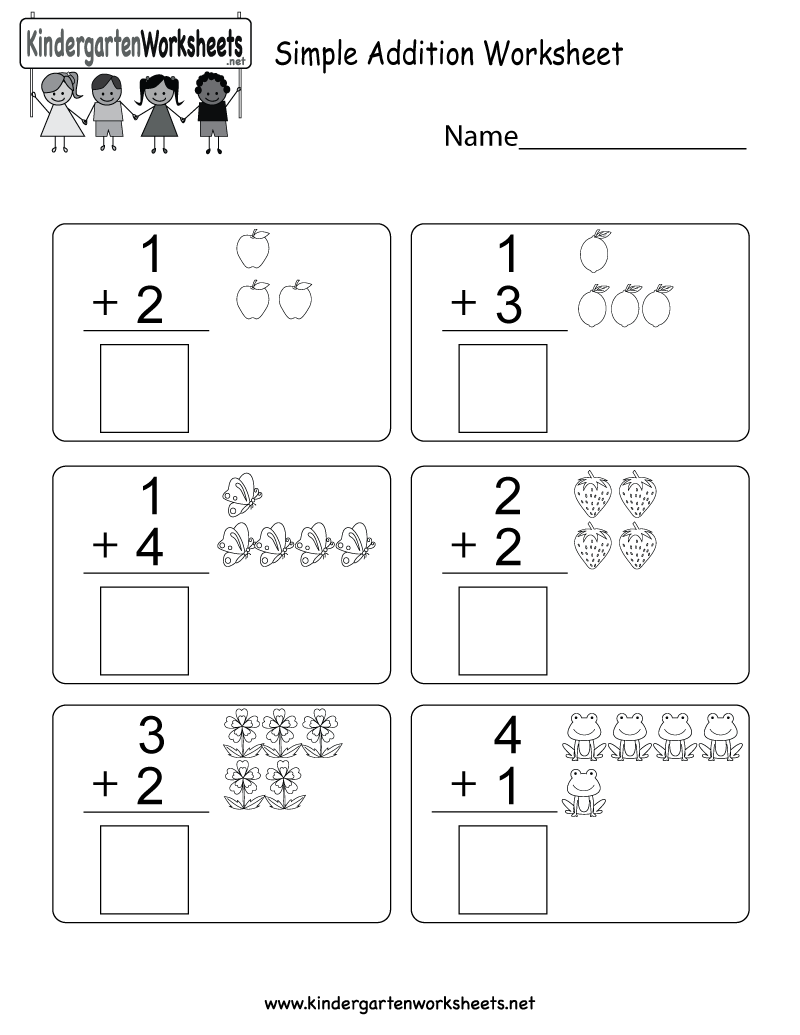 Simple Addition Worksheet  Free Kindergarten Math Worksheet For Kids