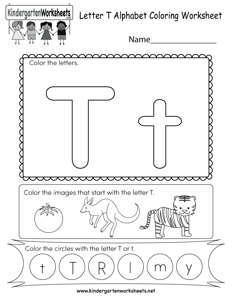 Letter T Coloring Worksheet  Free Kindergarten English Worksheet For Kids