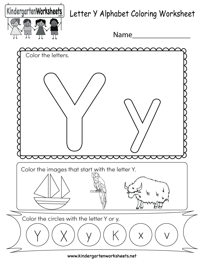 Letter Y Coloring Worksheet  Free Kindergarten English Worksheet For Kids