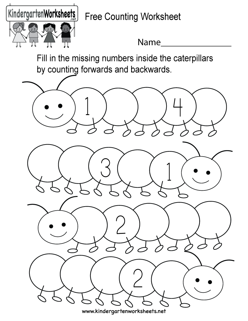 Free Counting Worksheet  Free Kindergarten Math Worksheet For Kids