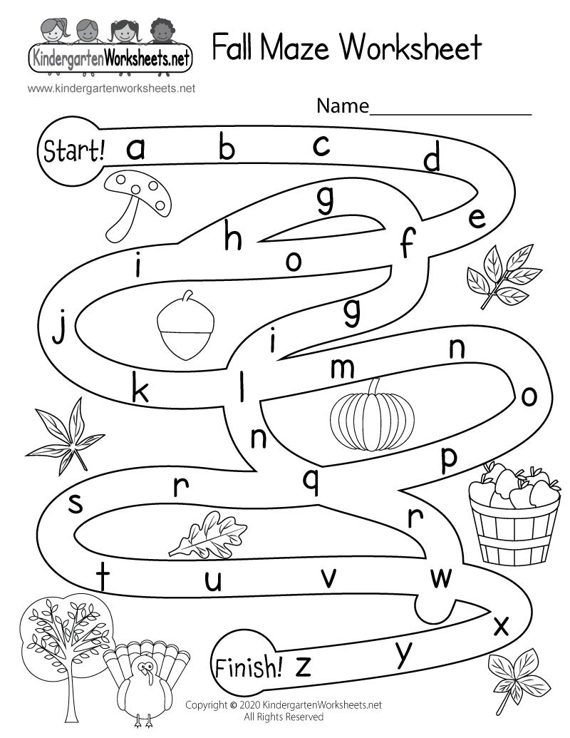 Fall Activity Maze Worksheet  Free Kindergarten Seasonal Worksheet For Kids