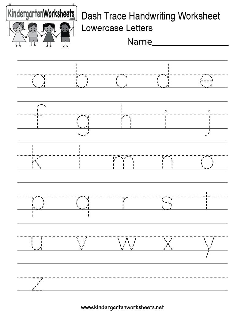 Dash Trace Handwriting Worksheet  Free Kindergarten English Worksheet For Kids