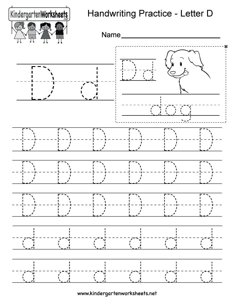 Letter D Writing Practice Worksheet  Free Kindergarten English Worksheet For Kids