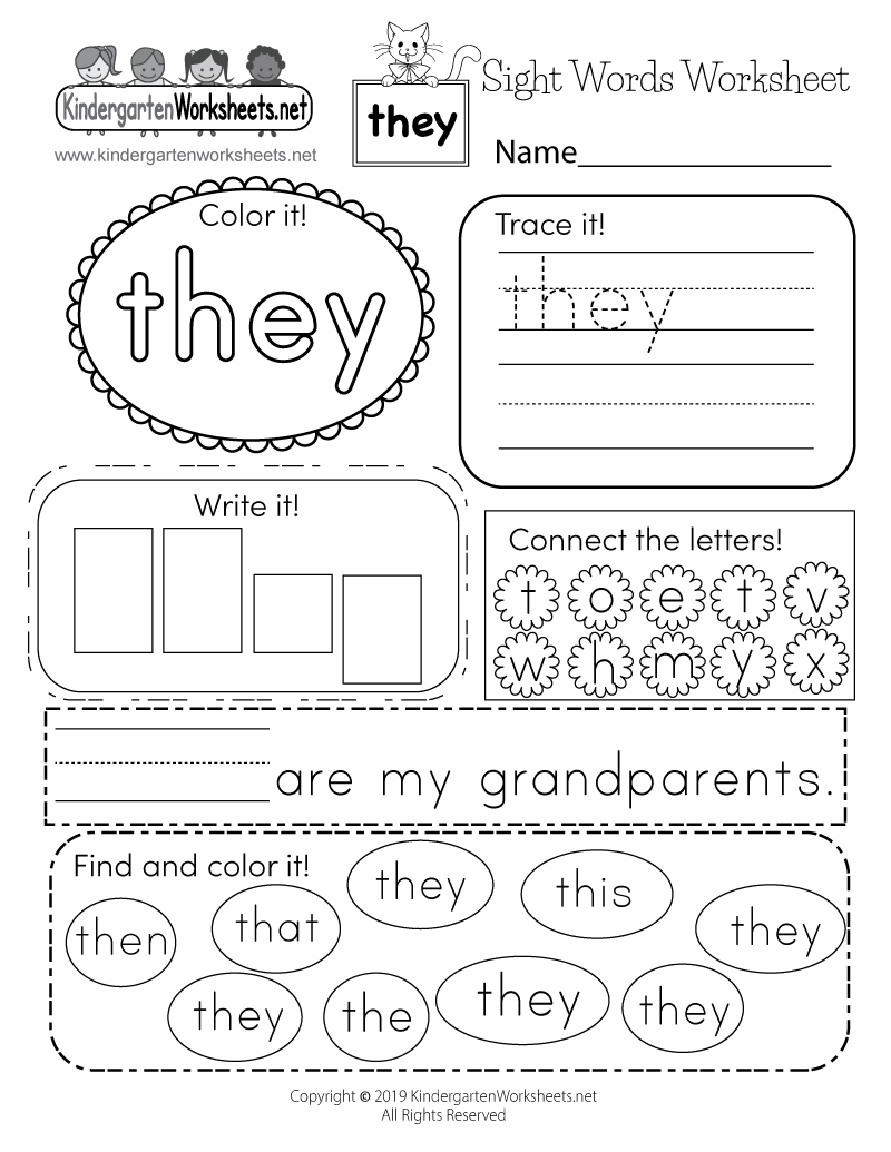 Sight Word They Worksheet Free Kindergarten English Printable Sight Best Free Printable Worksheets