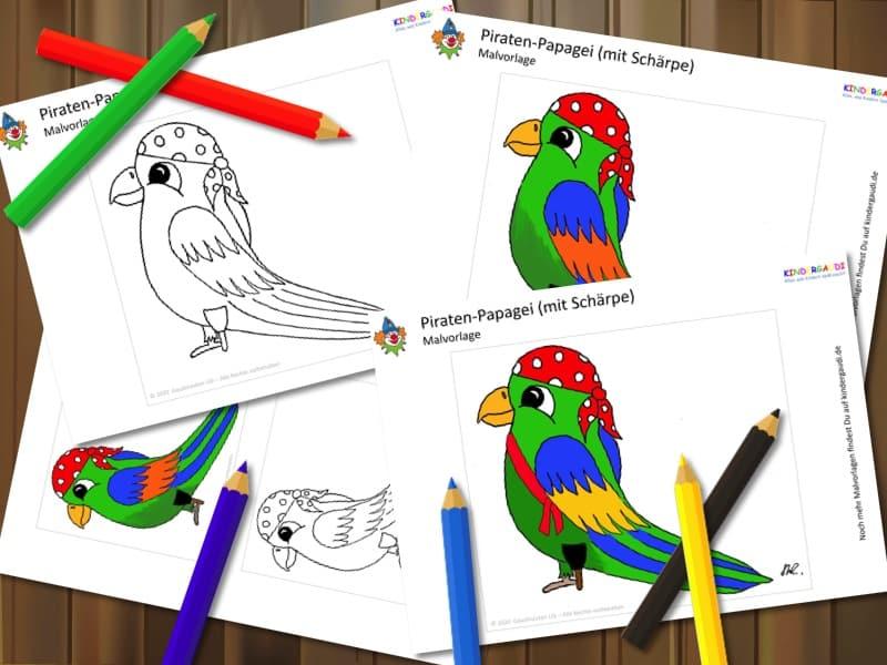 Malvorlage Papagei mit Holzbein Kindergaudi