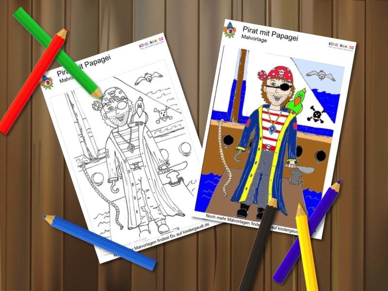 Malvorlage Pirat mit Papagei Kindergaudi