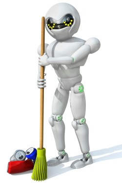 three-dimensional image of a robot cleaner with a broom in his h