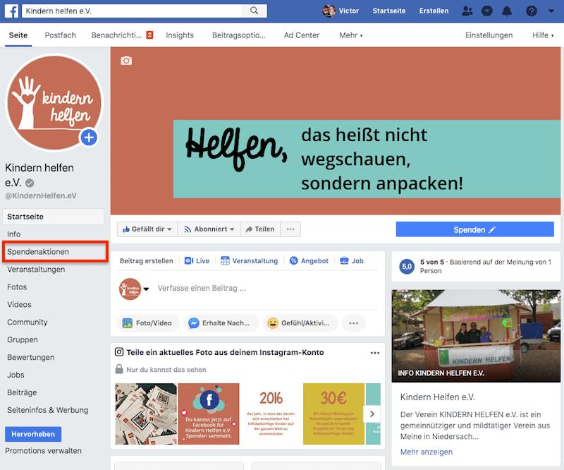 Screenshot der Facebook-Seite des Vereins Kindern Helfen e.V.
