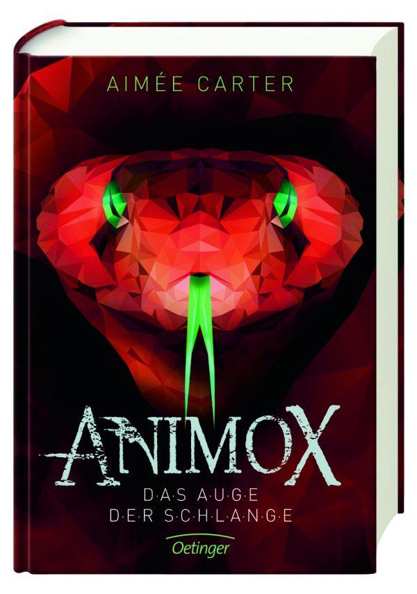 Hier ist das Cover des Buches Animox 2, Das Auge der schlange von Aimee Carter abgebildet. Darauf sieht ma einen riesigen roten Schlangenkopf, die Augen und die lange gespaltene Zunge sind grün. Das wirkt ein wenig gruselig.
