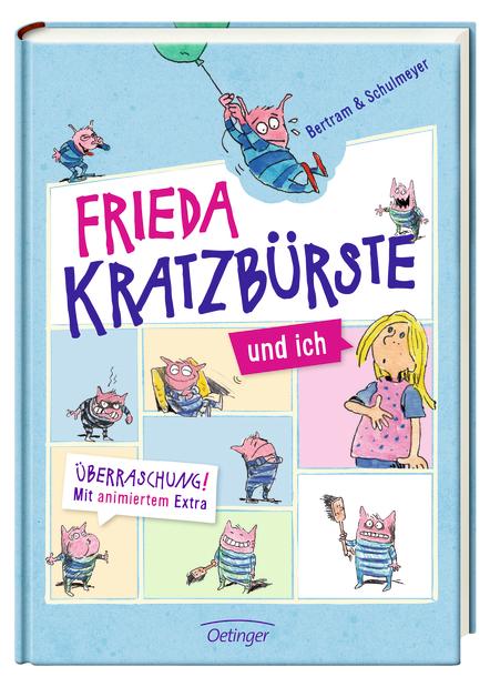 Hellblaues Coverbild des Buches Frieda Kratzbürste und ich von Bertrasm und SChulmeyer. Es zeigt einmal die Erzählerin Anna und mehrere Male ihre Puppe Frieda.