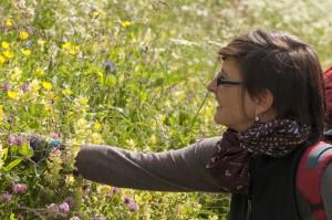 Lisa Engler in ihrem Element. Auch für Kinder bietet sie Kräuterwanderungen am Alteschgletscher an. Foto (c) Altescharena.com