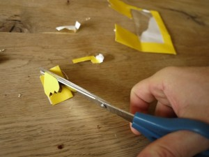 Mit der Schere schneidet Ihr die Flossen von unserer Kastanienfigur aus. foto (c) kinderoutdoor.de