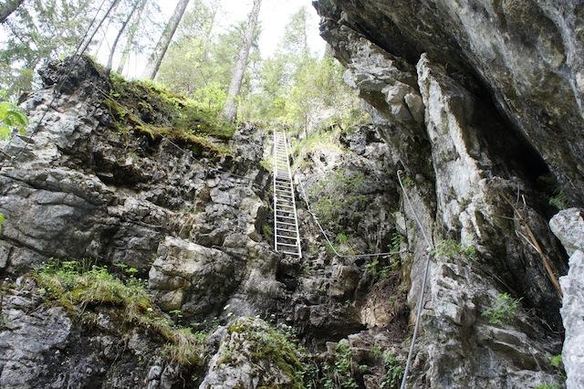 Mit Kindern am Klettersteig: Auch Leitern gehören zum Hochkommen. foto (c) kinderoutdoor.de