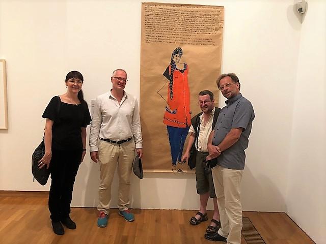 von links nach rechts: Gitta Gritzmann, Daniel J. Schreiber (Direktor des Buchheim Museums in Bernried), Clemens Wild (Künstler aus Bern u. einer der Preisträger) und Klaus Mecherlein (Kurator der euward7-Ausstellung)